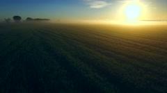 A spectacular sunrise breaks over foggy fields of wheat Stock Footage