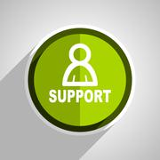 support icon, green circle flat design internet button, web and mobile app il - stock illustration
