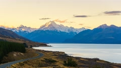 Aoraki Mount Cook Viewed From  Scenic Peters Lookout, Time Lapse Pan Down Stock Footage