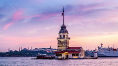 Istanbul. Maiden's tower. Day to night transtition. Lights turn on Stock Footage