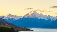 Aoraki Mount Cook Viewed From  Scenic Peters Lookout, Time Lapse Zoom In Stock Footage