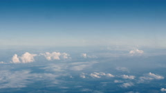 Beautiful clouds through an airplane window (LR Pan, No 2) Stock Footage