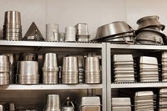 Kitchen utensils and baking tins, commercial kitchen Stock Photos