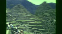 1977: Building architecture Machu Picchu native Inca civilization focus ruins. Stock Footage