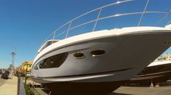 Bow Of Luxury Boat Newport Beach - Close Up - stock footage