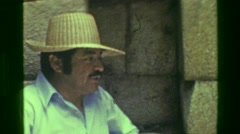 1977: Interior Machu Picchu native Inca civilization ruins buildings tour group. - stock footage