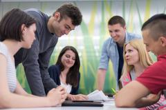 students group study - stock photo