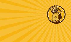 Business card Mongol Horde Barbarian Warrior Sword Circle Retro - stock illustration