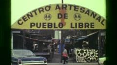 1977: Centro artesanal de pueblo libre people craft show artisan market.  CUSCO, - stock footage