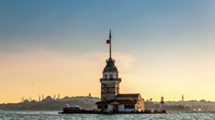 Istanbul. Maiden's tower just after the sunset. Easy camera zoom in Stock Footage