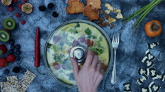 4k food composition on a vintage background with frittata Stock Footage