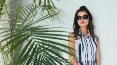 Sexy beauty woman silk dress luxury chic fashion sunglasses - stock footage