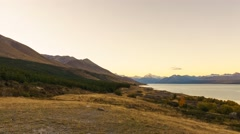 Aoraki Mount Cook Viewed From  Scenic Peters Lookout, Pan Right Stock Footage