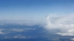 Beautiful clouds through an airplane window (LR Pan, No 3) - stock footage
