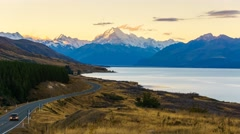 Aoraki Mount Cook Viewed From  Scenic Peters Lookout, Time Lapse Stock Footage