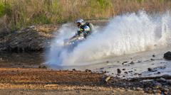 enduro off-roading in five-day race Russian rally 2014 - stock photo