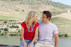 Happy couple in douro valley - stock photo