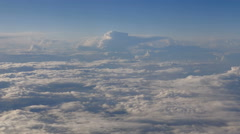 Beautiful clouds through an airplane window (LR Pan, No 4) Stock Footage