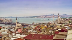 View of Istanbul with Galata Bridge and Yeni Cami Mosque Stock Footage