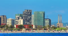Barcelona beach. Timelapse of Barcelona city beach view. Resort at Spain Stock Footage