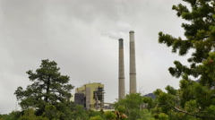 Power plant twin smoke stacks framed by blowing pinyon pine Stock Footage