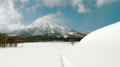 Mt Yotei HikingMt Yotei - Scenic Shot in the Middle of Winter Stock Footage