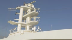 Cruise ship Communications and Radar tower or mast Stock Footage