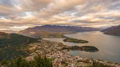 Queenstown Gondola Hills Scenic View, Time Lapse Pan Right - stock footage