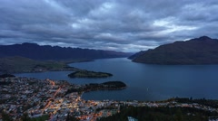 Queenstown Gondola Hills Scenic View, Time Lapse Pan Left Stock Footage