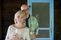 Mature couple at rural retreat Stock Photos