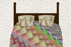 Patchwork quilt on bed - stock illustration
