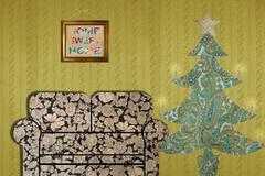 Living room with sofa and Christmas tree - stock illustration