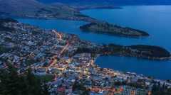 Queenstown Gondola Hills Scenic Night View, Time Lapse Stock Footage