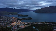Queenstown Gondola Hills Scenic View, Time Lapse Pan Right Up - stock footage