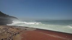 Big Waves Crashing into Promenade Stock Footage