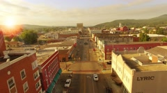 Aerial of Sunrise Over Small Town In Alabama Stock Footage