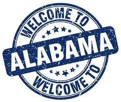 welcome to Alabama blue round vintage stamp - stock illustration