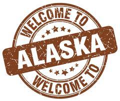 Welcome to Alaska brown round vintage stamp Stock Illustration