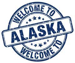 welcome to Alaska blue round vintage stamp - stock illustration