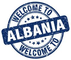 welcome to Albania blue round vintage stamp - stock illustration