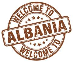 Welcome to Albania brown round vintage stamp Stock Illustration