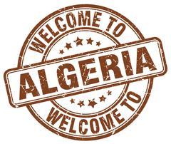 Welcome to Algeria brown round vintage stamp Stock Illustration