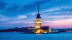 Istanbul. Maiden's tower. Day to night transtition. Lights turn on. Easy zoom in Stock Footage