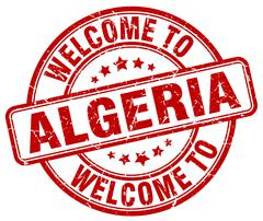 welcome to Algeria red round vintage stamp - stock illustration