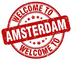 Welcome to Amsterdam red round vintage stamp Piirros