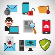 Cyber Security design , vector illustration - stock illustration