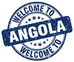 Welcome to Angola blue round vintage stamp Stock Illustration