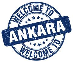 welcome to Ankara blue round vintage stamp - stock illustration