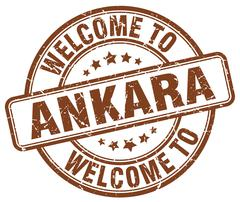welcome to Ankara brown round vintage stamp - stock illustration