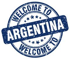 welcome to Argentina blue round vintage stamp - stock illustration